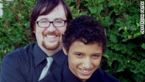 Damon Fietek, pictured with his father Jefferson, says he\'s been a target for bullies because his dad is gay.