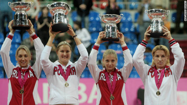 From left: Elena Vesnina, Petrova, Chakvetadze and Kuznetsova helped Russia win the Fed Cup team event for the third time in 2007, beating Italy 4-0 in the final in Moscow. Russia also won the 2008 final, this time without Chakvetadze.