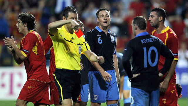 Wayne Rooney sees red in England's final Euro 2012 qualifier against Montenegro