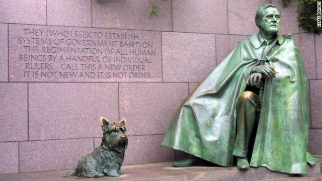 "The Roosevelt Memorial represents all 12 years of Franklin D. Roosevelt's presidency, including a sequence of four outdoor ""rooms"" that signify each of his terms in office. Roosevelt's dog Fala sits at his feet."