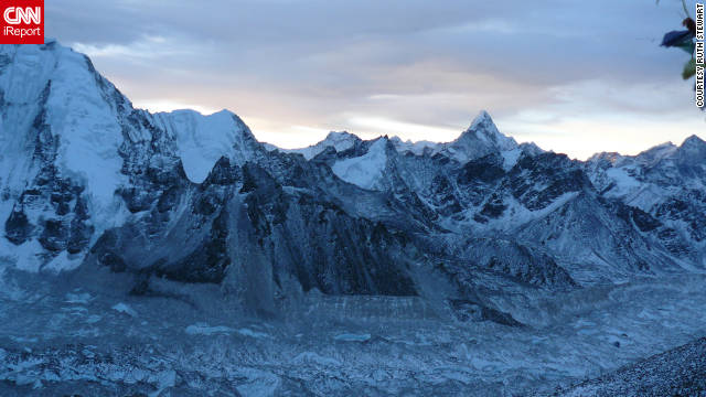 """This photo was taken on a dawn hike up to Kala Patthar, towards the end of a two-week trek from Lukla to Everest Base Camp. It is about minus 30 degrees Celsius without taking into consideration the wind chill. A truly spectacular region - I can't wait to go back,"" says iReporter Ruth Stewart."