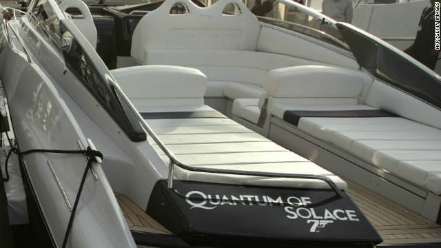 "One of three custom-built Sunseeker boats used in the latest Bond blockbuster, ""Quantum of Solace"" is on display at the Scotland Boat Show."
