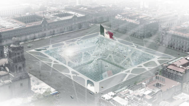"The ""Earthscraper"" would be located in the city's main square, and topped with an enormous Mexican flag."