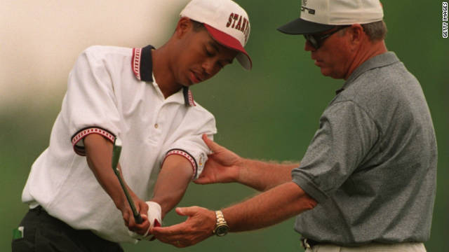 Butch Harmon made his name coaching Tiger Woods. Here he guides Woods during the 1995 Masters -- two years before his breakthrough victory at Augusta. 