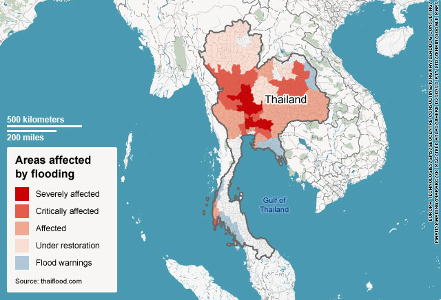 Thai map shows flooded areas