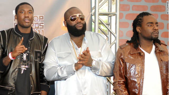 Rick Ross (center) at the BET Hip Hop Awards in Atlanta earlier this month with Meek Mill (left) and Wale.