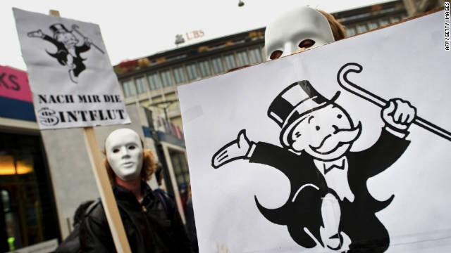 Protesters in Zurich, Switzerland, march against the banking industry and U.S. authorities.