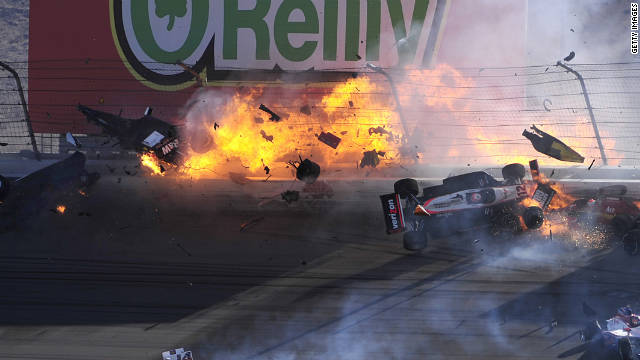 More than a dozen cars were involved in the fiery crash. Video of the accident showed cars spinning out of control and shooting smoke and debris into the air.