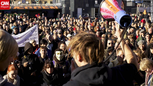 A crowd of about 3,000 people joined for Occupy Denmark on Saturday, October 15. &quot;They want money spent on the 99 percent, and they want to take [money] not only from the rich but also from the expenses on wars,&quot; iReport contributor Mikkel Wiese said.