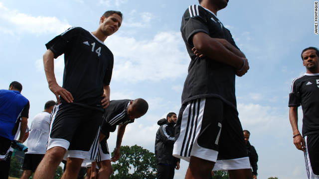 After a near 24-hour journey from Tunis, the squad struggles in the afternoon heat.