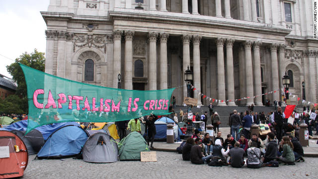 Hundreds of Occupy London protesters have set up a tent city in the shadow of St Paul's Cathedral.