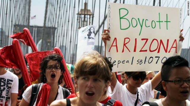 Arizona's immigration law sparked controversy across the nation, including this protest on the Brooklyn Bridge in New York.