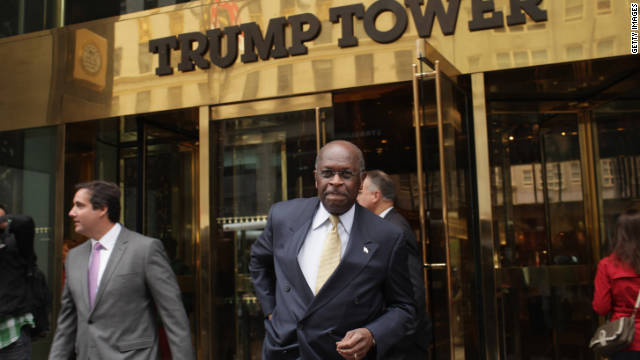 Herman Cain leaves Trump Tower in New York City after meeting with Donald Trump recently.
