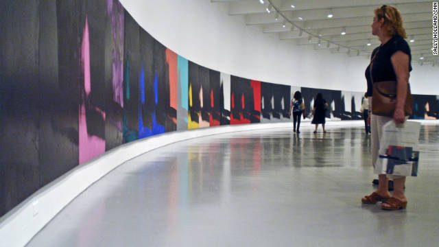 The Andy Warhol painting &quot;Shadows,&quot; which is longer than a football field, is on exhibit at the Hirshhorn Museum in Washington.
