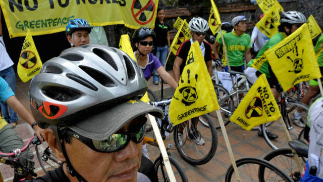 It's common for charities and environmental groups to use bicycles during their protests and rallies. Here, Greenpeace join members of a local anti-nuclear group in the Philippines to deliver a petition opposing the use of nuclear power. 