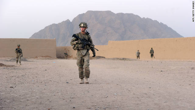 A U.S. soldier on patrol in Kandahar province in Afghanistan