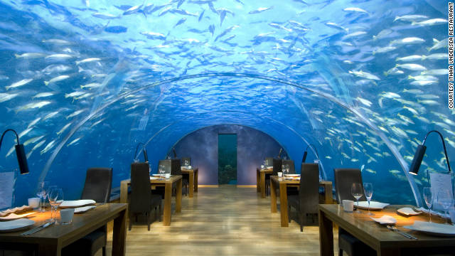 There are only 12 seats at the Ithaa undersea restaurant off Rangali Island in the Maldives, and all of them have equally fantastic views of the Indian Ocean overhead. See more photos on <a href='http://www.budgettravel.com/slideshow/photos-12-restaurants-with-spectacular-views,7588/ ' target='_blank'>BudgetTravel.com</a>.