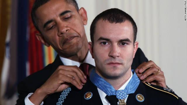 President Barack Obama awards Staff Sgt. Salvatore Giunta the Medal of Honor in the White House on November 16, 2010.