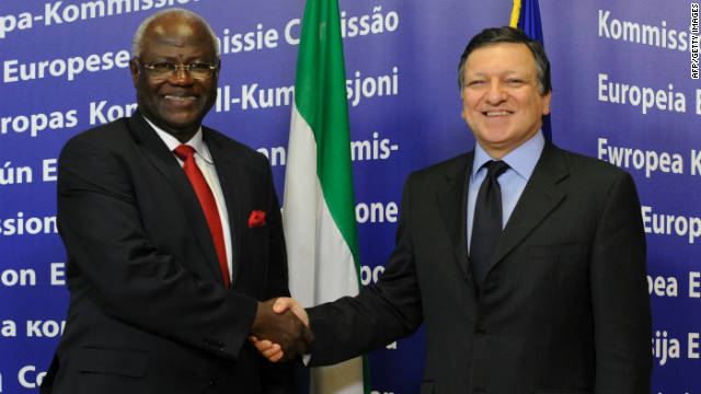 Koroma says Sierra Leone is today ready for business. Here, he is seen with the president of the European Commission, Jose Manuel Barroso, before their bilateral meeting in February 2011 in Brussels.