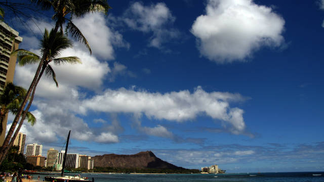 The view of Waikiki beach, Hawaii. Elvis Presley shot parts of &quot;Blue Hawaii&quot; on the island of Oahu.