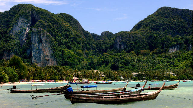 Koh Phi Phi in southern Thailand was the backdrop for the utopian existence featured in &quot;The Beach&quot;.