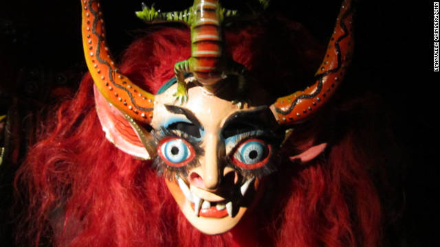 One of many masks used in traditional Bolivian dance is on display at the Museo Nacional de Etnografa y Folklore