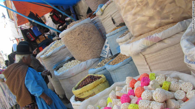 A variety of puffed corn, nuts and seeds are available from street vendors throughout La Paz, Bolivia. The city is often the point of entry for travelers visiting Bolivia for its natural wonders.