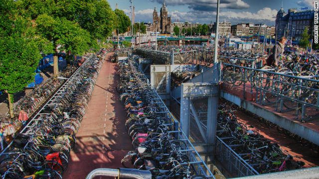 Amsterdam, the world capital for bicycle owners, needs a lot of bike parking around the city. According to Amsterdam Tourism Board, there are 600,000 bicycle owners in a city of approximately 750,000 residents. 