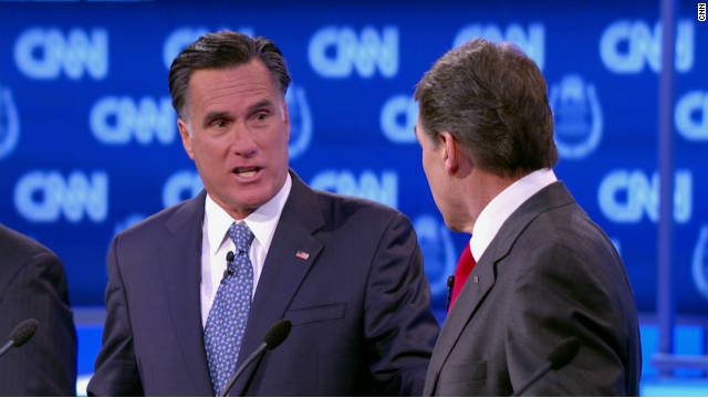 Mitt Romney, left, clashes with Rick Perry during the CNN debate Tuesday.