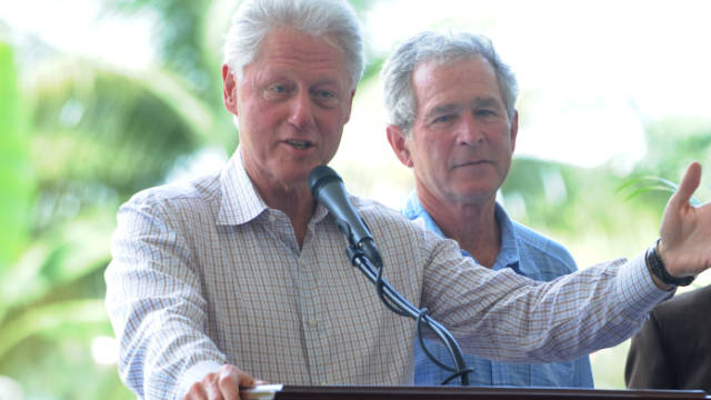 Hundreds of demonstrators are expected to protest outside an event in Canada where Presidents Bill Clinton and George W. Bush are speaking.