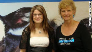 Niki, left, and Julie Gianni are vegans and actively participate in animal rights events.