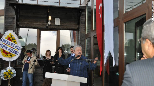 Antalya mayor Mustafa Akaydin speaks at the opening of the Solar House in April 2011.