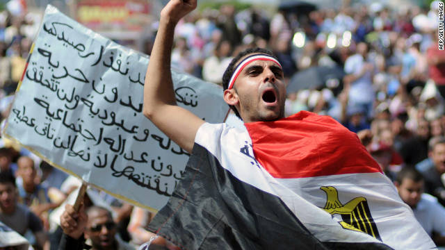 An Egyptian protester shouts slogans in Cairo during a rally amid anger over the military rulers' handling of the transition.