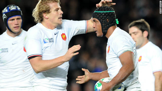 France captain Thierry Dusautoir is congratulated after scoring his side's try at Eden Park