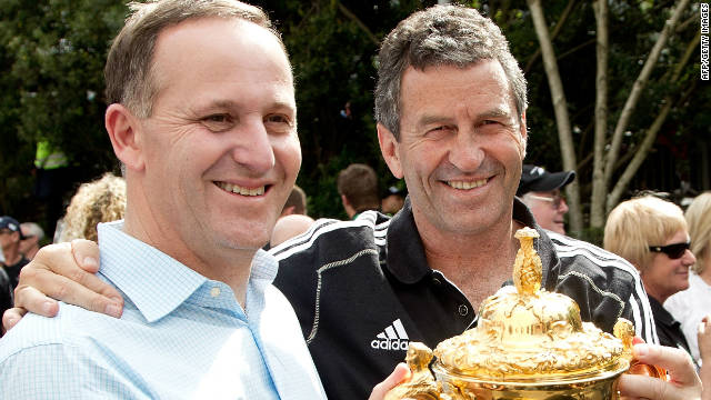 New Zealand prime minister John Key gets to grips with the World Cup with assistant coach Wayne Smith