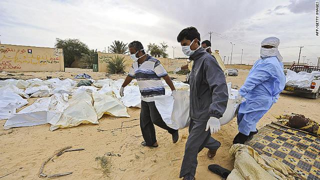 Hallan cuerpos de 53 aparentes partidarios de Gadhafi en un hotel de Libia
