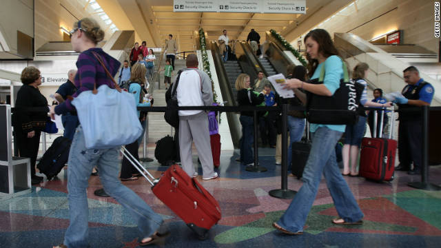 Travelers head for their flights at L.A./Ontario International Airport in California on the eve of a past Thanksgiving.