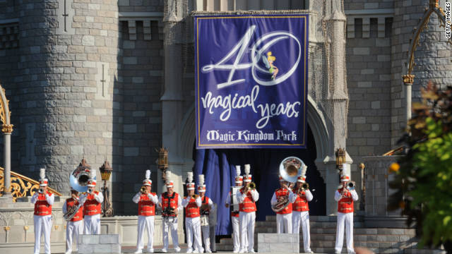 A band performs in front of Cinderella Castle during Walt Disney World's 40th anniversary celebration on October 1.