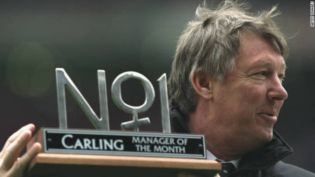 Ferguson receives the Manager of the Month award in March 1997 before guiding United to another league title that season.
