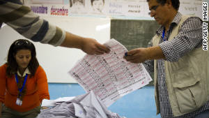 National election observers help counting votes in Tunis on October 23, 2011.