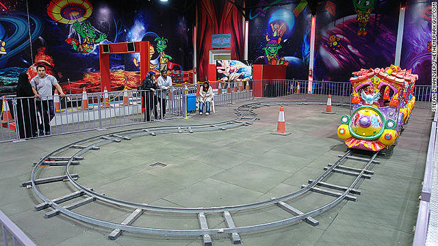 A children's train ride at the Velayat theme park.