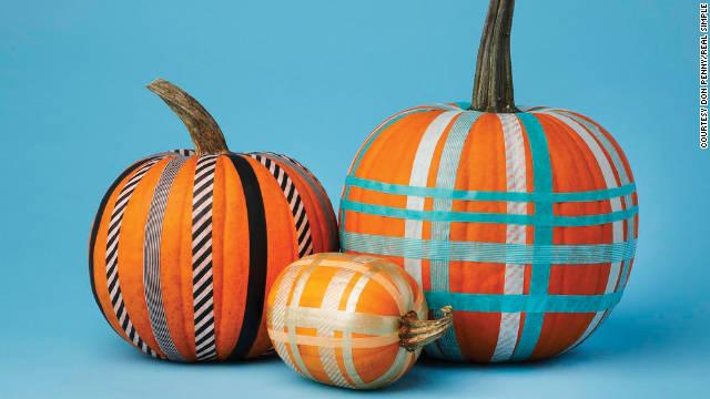 Create a plaid pumpkin using colorful Washi tape.