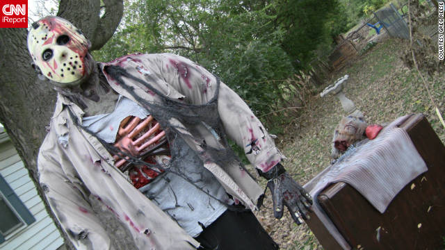 Andrew Adkins of Springdale, Ohio, turns his yard into a wasteland of spooky creatures each year in honor of Halloween and opens it to visitors.
