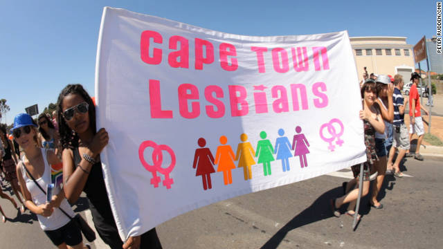 Thousands march through the streets of Cape Town during the city's pride weekend.