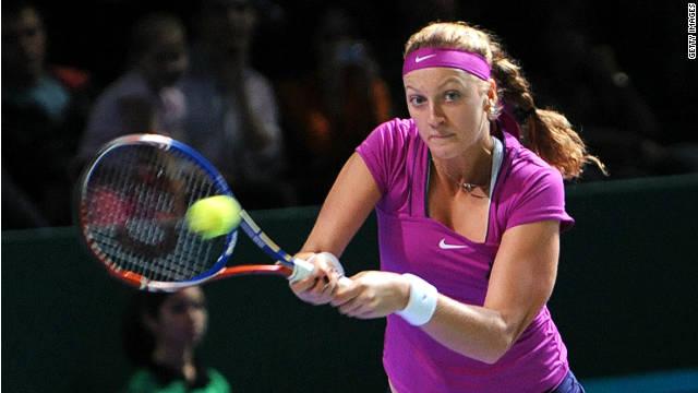 Petra Kvitova beat Caroline Wozniacki to book her place in the final four at the WTA Championships