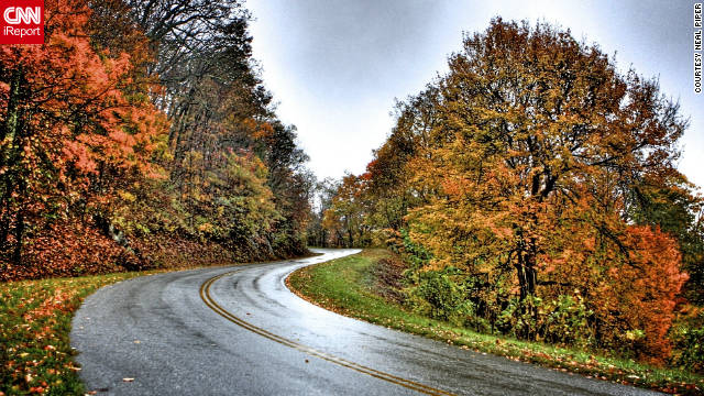 "Neal Piper took a drive on a stretch of the Blue Ridge Parkway in Virginia and shared this high dynamic range composite he made of his experience. ""I have always wanted to drive on the Blue Ridge Parkway during the fall to see the spectacular array of colors in this mountainous region,"" he said."