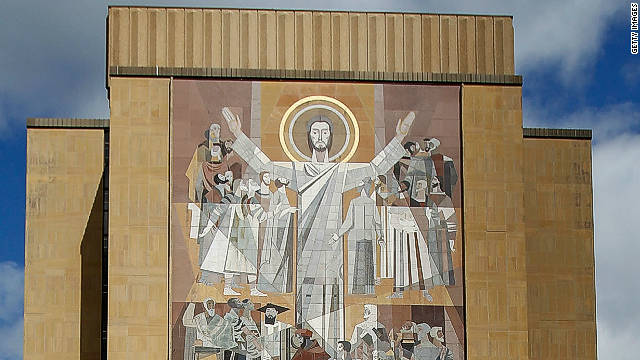 "A close-up of the ""Word of Life'"" mural, also known as ""Touchdown Jesus."""