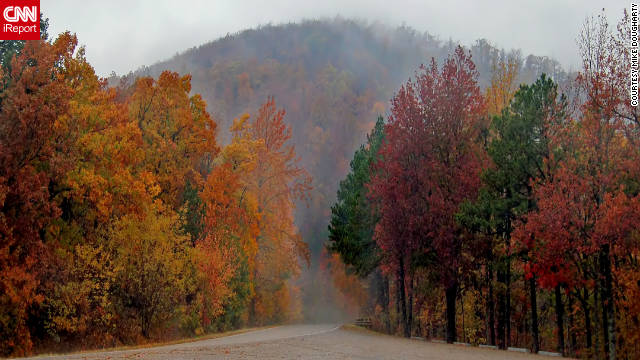 "Mike Dougharty shared this foggy morning photo on the Talimena Scenic Drive in western Arkansas. ""Amazing colors during the fall and well worth a visit,"" he said."