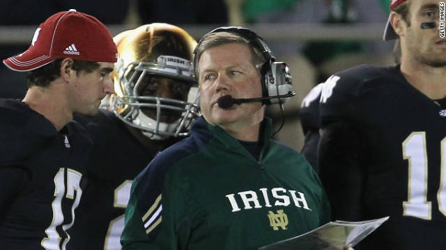 Head coach Brian Kelly of the Notre Dame Fighting Irish