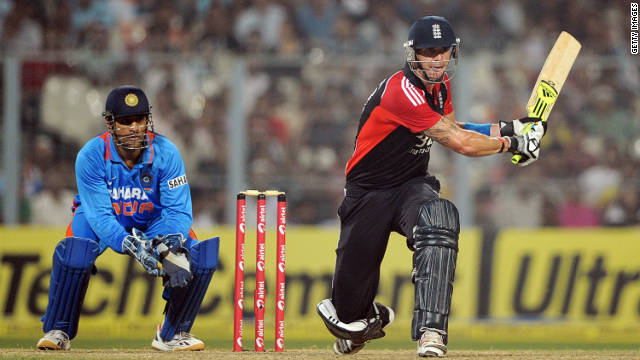 Kevin Pietersen prepares to swipe another ball to the boundary in his match-winning innings of 53 at Eden Gardens.